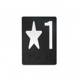 elevator jamb braille that shows designation star 1